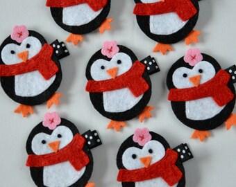 Cute Black Penguin Felt Hair Clip - Winter Hair Clips - felt hair bows - black and white penguin - non slip grip clippie for girls