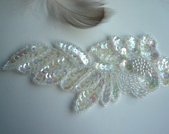 BEADED WEDDING APPLIQUE,  Beaded Champagne  / A - 10