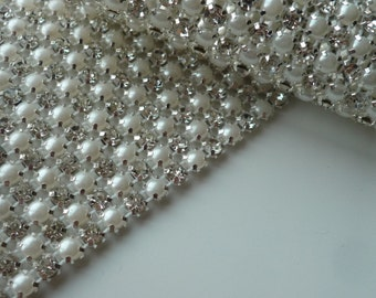 PERLA Rhinestone  Banding, Trim / Clear Crystal and Pearl w/ Silver Backing / 3 Row 30 inches
