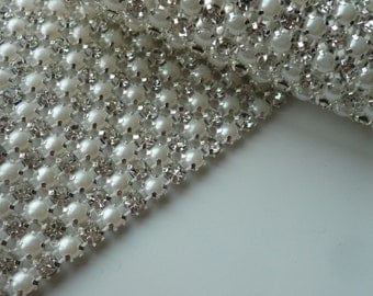PERLA Rhinestone  Banding, Trim / Clear Crystal and Pearl w/ Silver Backing / 3 Row, 1 Yard