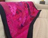 """Red hot pink Vintage indian patchwork wall hanging/runner embroidered textile tapestry throw 60"""" inch"""