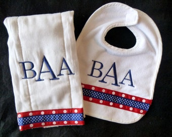 Monogrammed Bib and Burp Cloth Set - Red and Navy