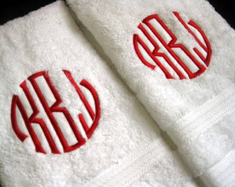 Monogrammed Bath towels - You pick what monogram and thread color