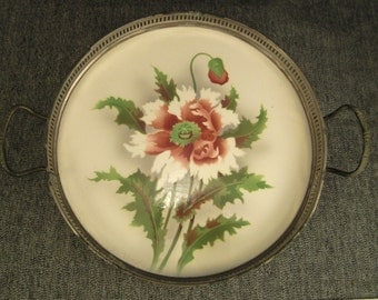 Art DECO TRAY POPPIES Hand painted Porcelain Metal gallery with handles  decoratrive green red white 9 3/8 in diameter