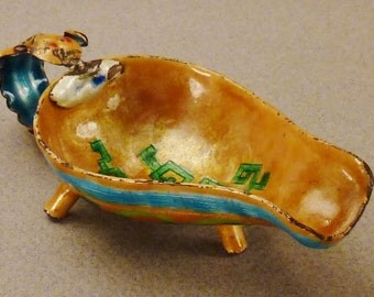 Antique.  CLOISONNE  QING Jue Wine Chinese Enamel Vessel Qing Dynasty 1850s Great Condition