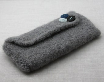 Knitting or Crochet Notions Clutch - Pale Gray with blue, black, and white button accent