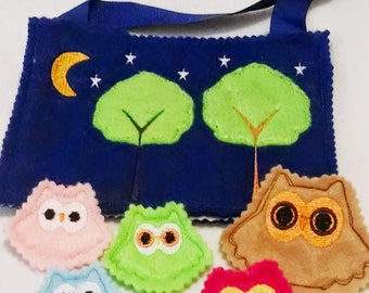 Owl family actiivtity Play Set a tote and owl family Felt game #3005