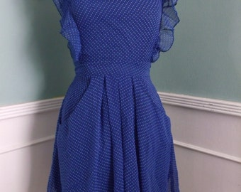 Blue Day Dress. Ruffle Top. Pockets. UK Size 8