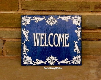 Royal Tile Decorative Welcome Slate Sign/ Hand Painted Decorative Slate Sign/ Welcome Slate Sign/ Fleur De Lis Welcome Slate Sign
