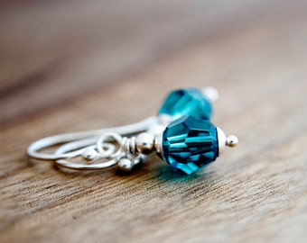 Drop Earrings, Crystal Earrings, Teal Crystal, Swarovski Crystal, Sterling Silver, Teal Blue, Dangle Earrings, PoleStar, Crystal Jewelry