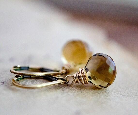 Citrine Gold Drop Earrings Gemstone Jewelry November Dangle Fall Fashion PoleStar