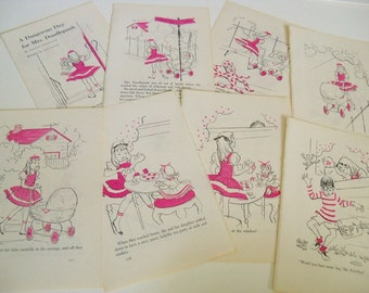 Storybook Illustrations - Mrs Doodlepunk - Tea Party - Vintage Children's Story Book Prints - Jill Elgin - Dorothy Dodworth - 1954