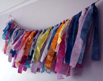 SALE 20%OFF Super bright and Cheerful Fabric Banner, Fringe Garland,  Photo Prop or Party Decore