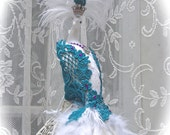 SALE! Exquisite White Peacock Cake Topper with Teal and Purple Embellishments