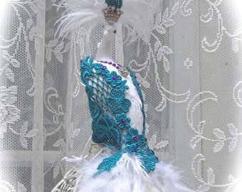 Large Exquisite White Peacock Tree or Cake Topper with Teal and Purple Embellishments - READY To SHIP