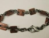 Copper Squares & Sterling Bracelet Hammered Stamped Oxidized