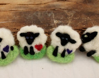 Sheep, Needle Felted Sheep Pin