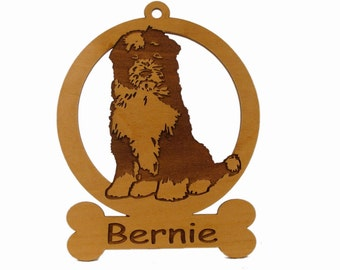 Tibetan Terrier Sitting Dog Ornament 084174 Personalized With Your Dog's Name