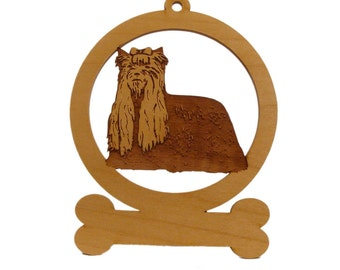 Yorkie Wood Ornament 084253 Personalized With Your Dog's Name
