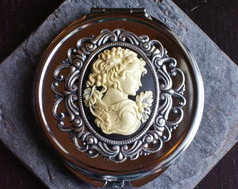 Cameo victorian silver compact mirror, heirloom mirror, black cameo mirror, bridesmaid gift, gift ideas for mom, unique Christmas gift