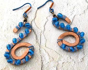 Gypsy Blue Earrings Boho Gypsy Style Copper & Czech Crystals