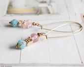 Tina - elegant long length beaded earrings