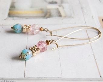 Tina - elegant long length beaded earrings
