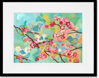 Art print - cherry blossom birdies 100% archival paper & inks