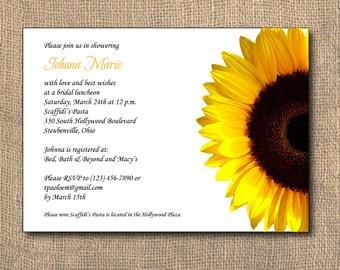 Sunflower Invitation, PRINTABLE, 5x7, Bridal Shower Invitation, Shower Invitation
