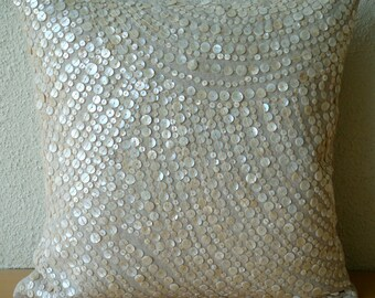 Decorative Throw Pillow Covers Accent Couch Sofa Pillows 20x20 Linen Pillow Mother Of Pearl Embroidered Pillow Case Bedroom Glazed Pearls