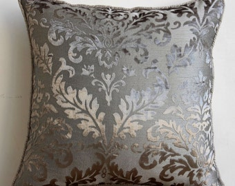 """Luxury Grey Throw Pillow Covers, 16""""x16"""" Burnout Velvet Pillows Covers For Couch, Square  Damask Pillow Cover - Gray Silver Damask"""