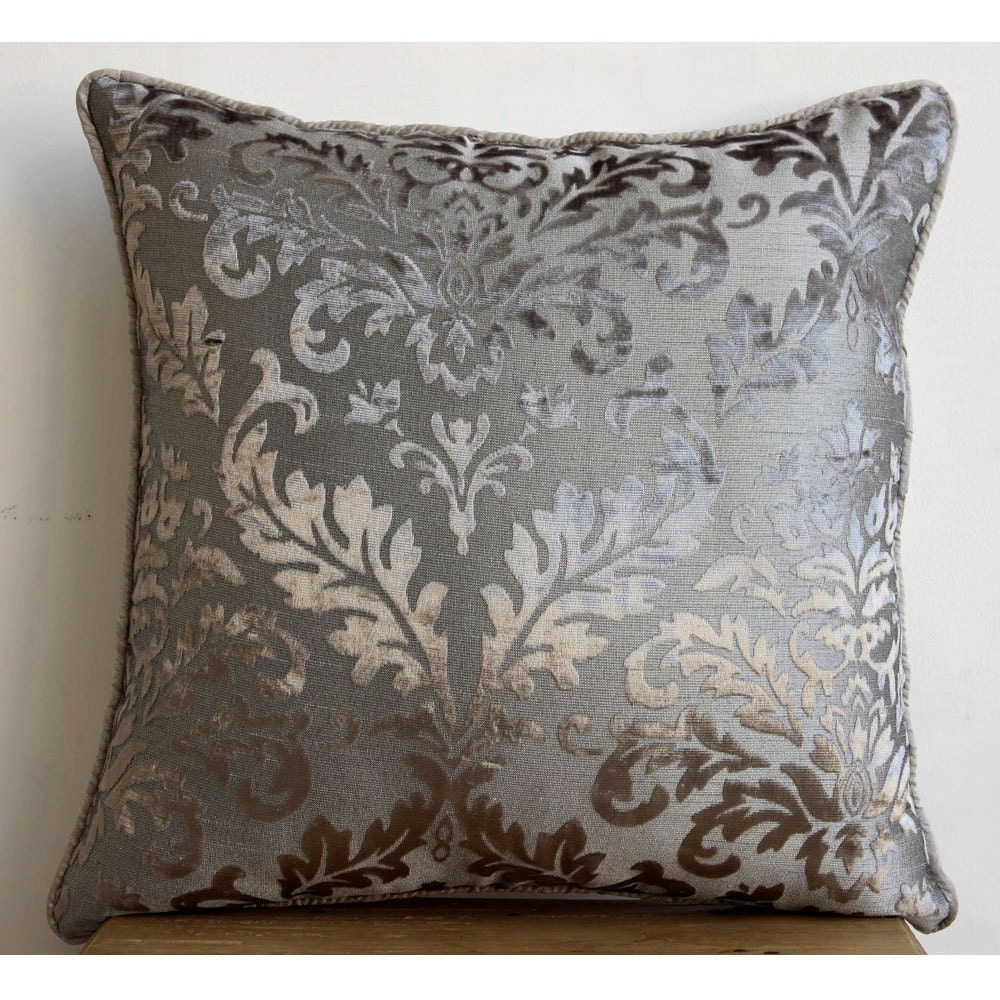Luxury grey throw pillow covers 16x16 burnout for Luxury decorative throw pillows