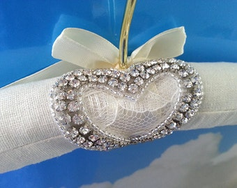 Wedding Dress Hanger with Swarovski Crystals and Rhinestone Heart, Bridal Gown Hanger Photography Prop, Wedding Gift