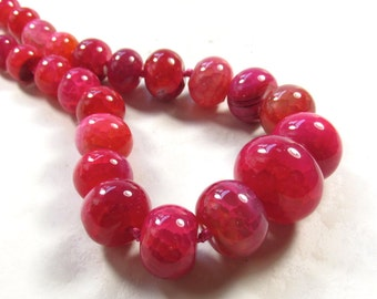 Big 12mm to 30mm Pink Agate Graduated Rondelle Beads Polished 18 Inches