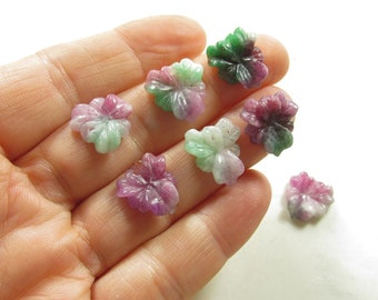 Carved Flowers Pansy Briolette Beads , Colorful Bi Color Orchid Pink Green Jade Bead Gemstone, QTY4