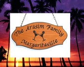 Personalized Family Name Sign - Custom Carved Redwood - Margarita Graphic