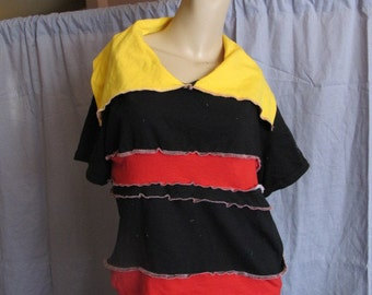 SALE - OOAK Upcycled Patchwork Jersey Top - S/M (3077)