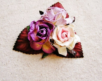 Lilac, Plum Buttercream, Pale Pink, Mixed bunch Vintage style Millinery Flower spray Bouquet- corsage, floral shabby chic-32514 OOAK