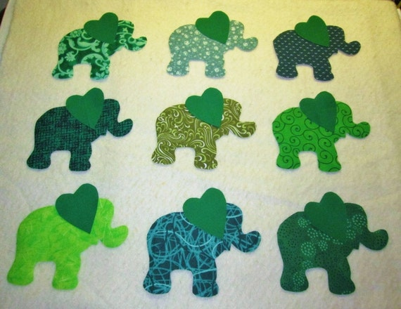Set of 9 Green Elephant Iron On Clothing Quilting Fabric Appliques...Make Your Own Quilt Blocks