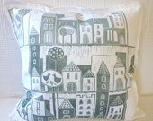handprinted block print, cushion cover, town, village, light gray, white, linen, fabric art, textile art, houses, trees, plaza, cosy home