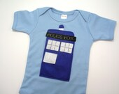 Tardis Dr. Who Onesie 6-12 Months in Blue // Geeky Baby Shower Gift