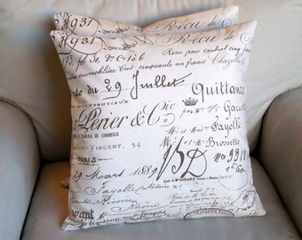 French script on Cotton Duck 20x20 inches TWO  Pillows include inserts