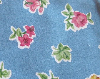 Retro Floral Fabric - Roses on Dusty Blue - Concord Fabrics Cotton Yardage