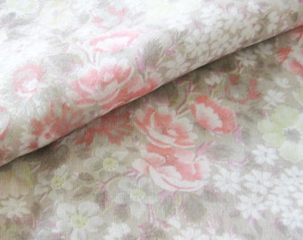 Vintage Floral Cotton Fabric in Soft Pink and Tan