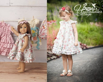The Handmaiden's Cottage Swing Dress PDF pattern, sizes 6 months through size 8 with Dolly Dress pattern included