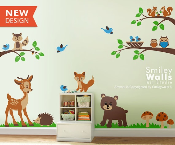 forest animals wall decal woodland animals wall decal animals. Black Bedroom Furniture Sets. Home Design Ideas