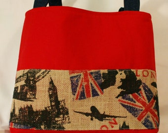 Red London Burlap Purse Tote Bag Handbag