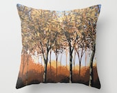 "Decorative throw pillow cover ... from my original trees landscape painting, ""Enraptured"" ... 16"" x 16"""