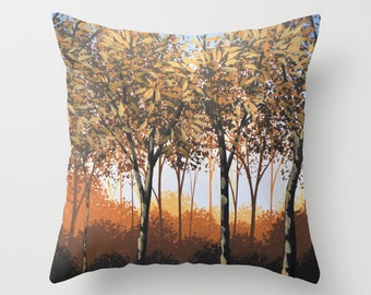"""Decorative throw pillow cover ... from my original trees landscape painting, """"Enraptured"""" ... 16"""" x 16"""""""