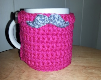 crocheted mustache cup cozy mug cozy in hot pink with silver gray grey mustache